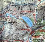 Středověký důlní komplex u Bockhart See,poloha dolů je označena x, poloha úpravny zlaté rudy a hlavní budovy označena *, (podle článku prof.Dr. Brigitte Cech, Univ.Wien).